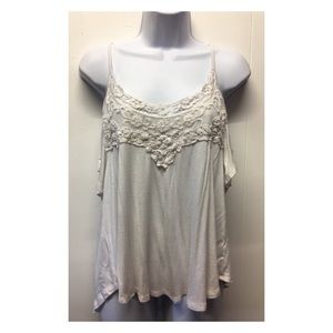 Acemi | White Lace Detail Boho Cold Shoulder Top